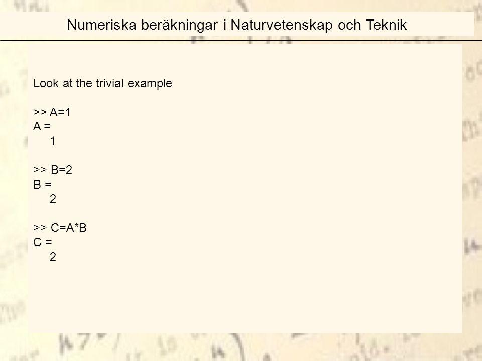Look at the trivial example >> A=1 A = 1 >> B=2 B = 2 >> C=A*B C = 2 Numeriska beräkningar i Naturvetenskap och Teknik