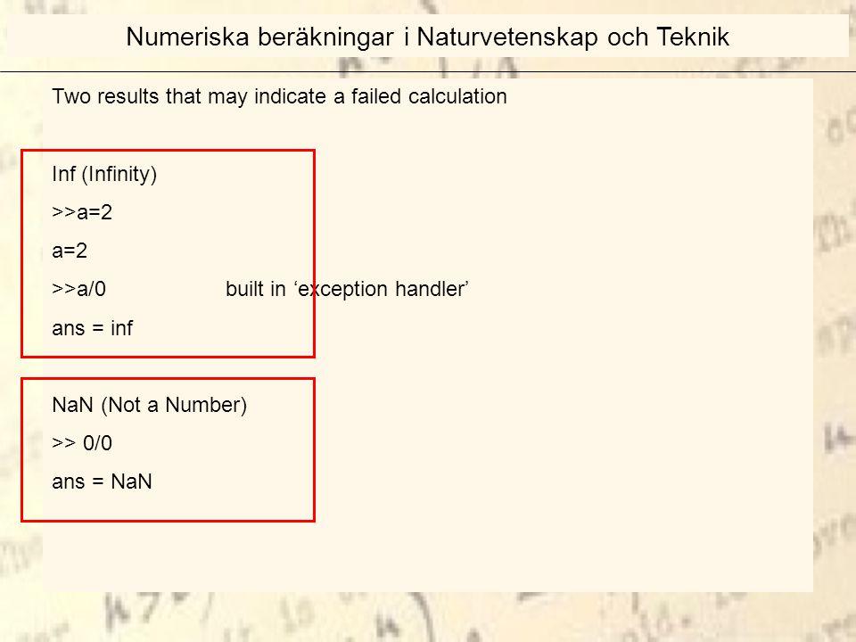 Two results that may indicate a failed calculation Inf (Infinity) >>a=2 a=2 >>a/0 built in 'exception handler' ans = inf NaN (Not a Number) >> 0/0 ans = NaN Numeriska beräkningar i Naturvetenskap och Teknik