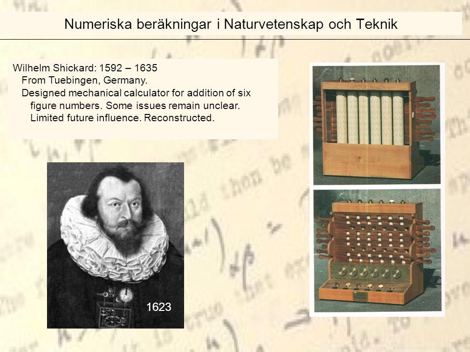 Wilhelm Shickard: 1592 – 1635 From Tuebingen, Germany.