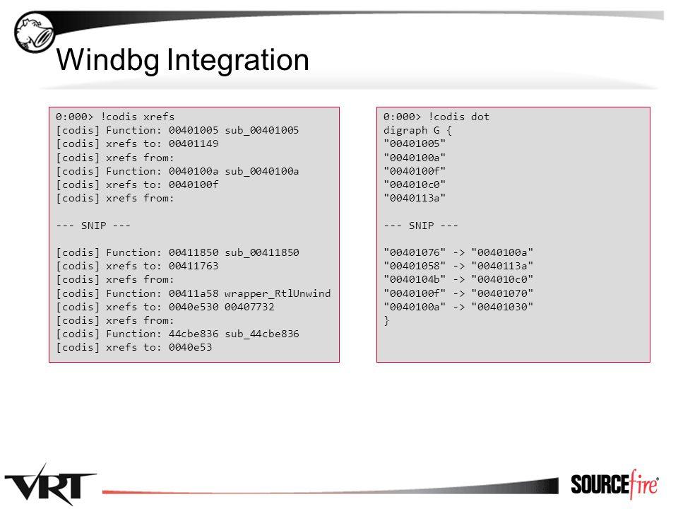 52 Windbg Integration 0:000> !codis xrefs [codis] Function: 00401005 sub_00401005 [codis] xrefs to: 00401149 [codis] xrefs from: [codis] Function: 0040100a sub_0040100a [codis] xrefs to: 0040100f [codis] xrefs from: --- SNIP --- [codis] Function: 00411850 sub_00411850 [codis] xrefs to: 00411763 [codis] xrefs from: [codis] Function: 00411a58 wrapper_RtlUnwind [codis] xrefs to: 0040e530 00407732 [codis] xrefs from: [codis] Function: 44cbe836 sub_44cbe836 [codis] xrefs to: 0040e53 0:000> !codis dot digraph G { 00401005 0040100a 0040100f 004010c0 0040113a --- SNIP --- 00401076 -> 0040100a 00401058 -> 0040113a 0040104b -> 004010c0 0040100f -> 00401070 0040100a -> 00401030 }