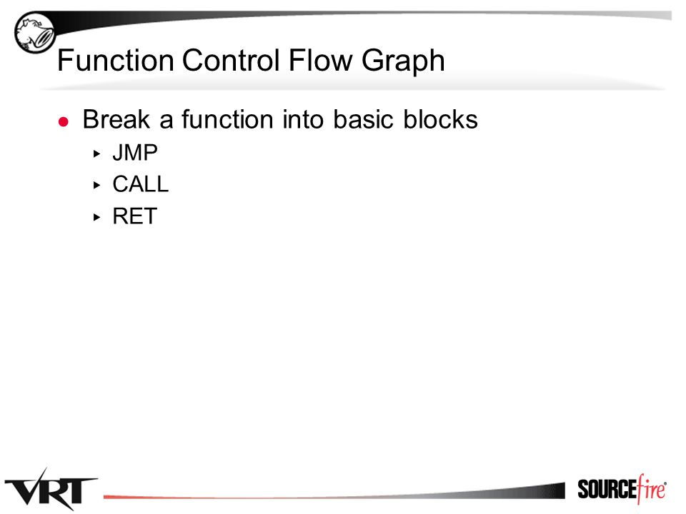 63 Function Control Flow Graph ● Break a function into basic blocks ▸ JMP ▸ CALL ▸ RET