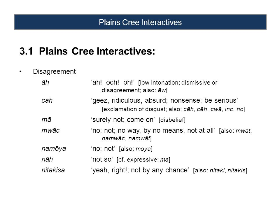 Plains Cree Interactives 3.1 Plains Cree Interactives: Disagreement āh'ah.