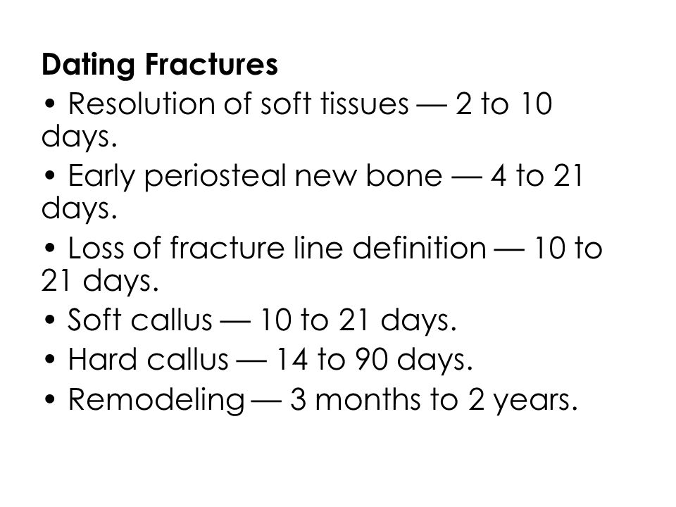 Differential Diagnosis of Fractures Minor falls – Do not cause fractures in most instances – Studies show very low incidence of fractures from short falls Obstetrical/birth trauma – usually produces only humeral and clavicular fractures – no rib fractures Prematurity – Osteopenia can lead to fractures
