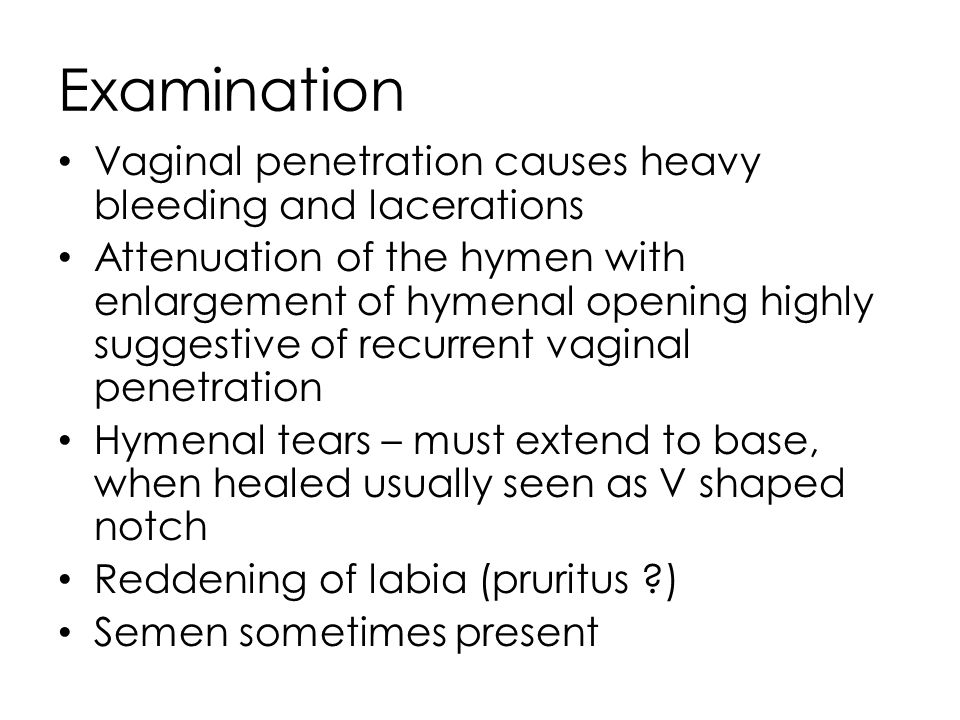Anal tears, Bleeding Anal tags and fissures as it healed Minimal injuries if lubricant is used Semen may be seen Repeated penetration results lax anus with reduced tone