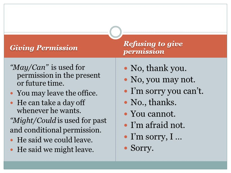 Giving Permission Refusing to give permission May/Can is used for permission in the present or future time.