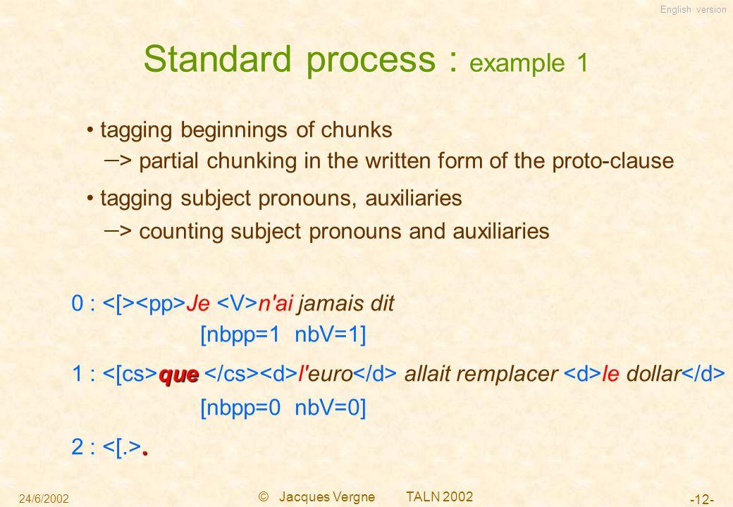 English version 24/6/2002 © Jacques Vergne TALN 2002 -12- Standard process : example 1 0 : Je n'ai jamais dit [nbpp=1 nbV=1] que 1 : que l'euro allait
