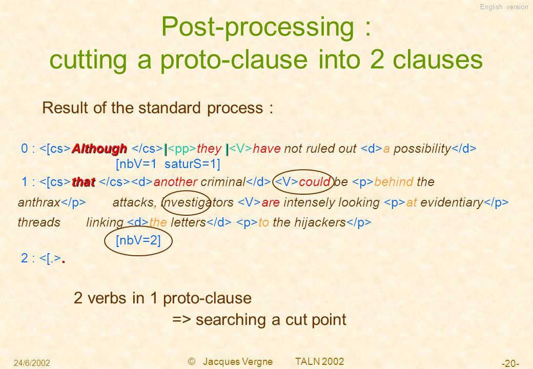 English version 24/6/2002 © Jacques Vergne TALN 2002 -20- Post-processing : cutting a proto-clause into 2 clauses Result of the standard process : 2 verbs in 1 proto-clause => searching a cut point Although|| 0 : Although | they | have not ruled out a possibility [nbV=1 saturS=1] that 1 : that another criminal could be behind the anthrax attacks, investigators are intensely looking at evidentiary threads linking the letters to the hijackers [nbV=2].