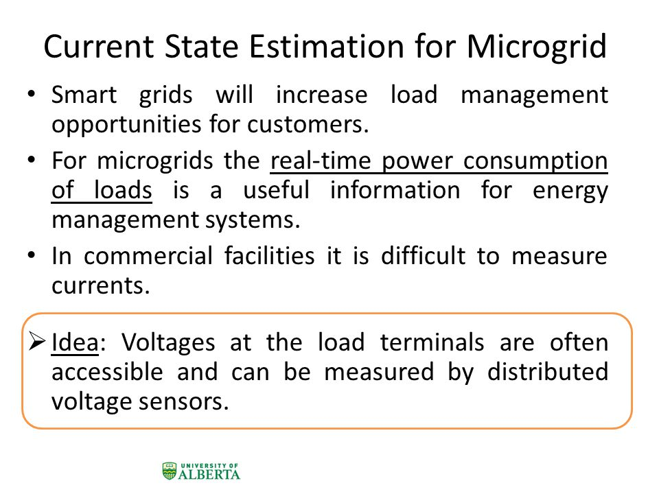 Current State Estimation for Microgrid Smart grids will increase load management opportunities for customers.