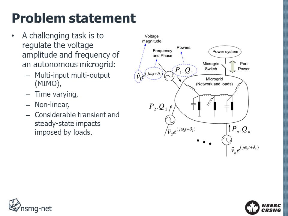 Problem statement Most commonly, the goal is achieved by coordinated control of multiple Distributed Energy Resource (DER) units through droop- based control.