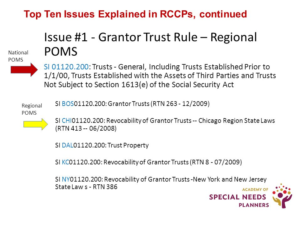 Top Ten Issues Explained in RCCPs, continued Issue #1 - Grantor Trust Rule – Regional POMS SI 01120.200: Trusts - General, Including Trusts Established Prior to 1/1/00, Trusts Established with the Assets of Third Parties and Trusts Not Subject to Section 1613(e) of the Social Security Act SI BOS01120.200: Grantor Trusts (RTN 263 - 12/2009) SI CHI01120.200: Revocability of Grantor Trusts -- Chicago Region State Laws (RTN 413 -- 06/2008) SI DAL01120.200: Trust Property SI KC01120.200: Revocability of Grantor Trusts (RTN 8 - 07/2009) SI NY01120.200: Revocability of Grantor Trusts -New York and New Jersey State Law s - RTN 386 National POMS Regional POMS