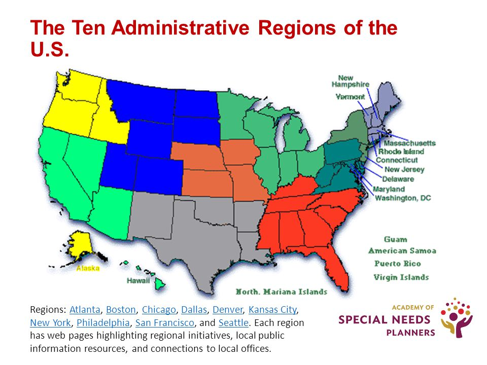 The Ten Administrative Regions of the U.S.