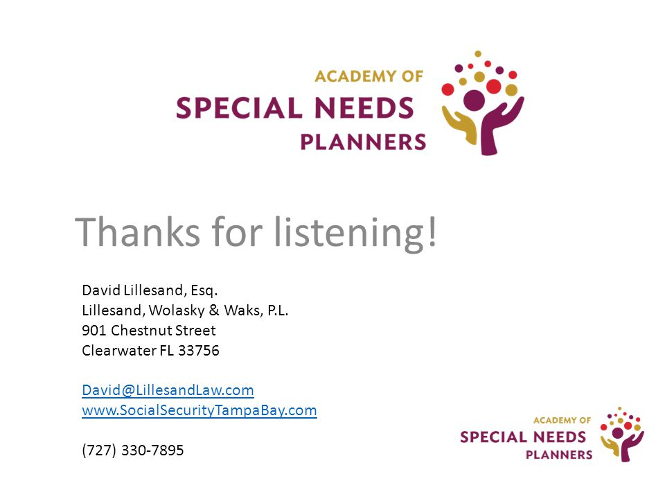 Thanks for listening. David Lillesand, Esq. Lillesand, Wolasky & Waks, P.L.