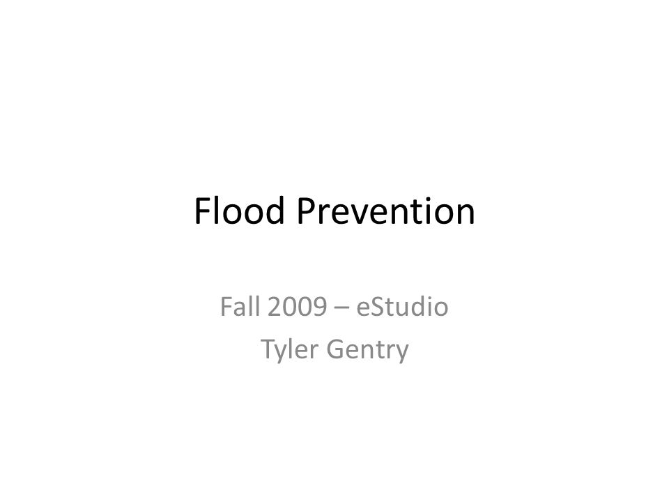 Flood Prevention Fall 2009 – eStudio Tyler Gentry