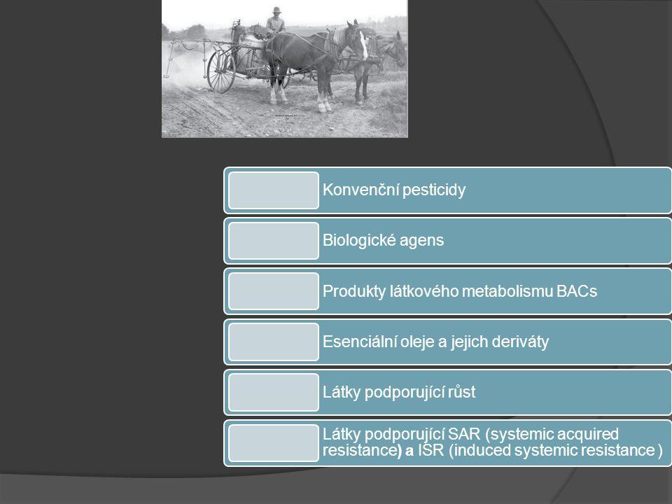 Konvenční pesticidy Biologické agens Produkty látkového metabolismu BACs Esenciální oleje a jejich deriváty Látky podporující růst Látky podporující SAR (systemic acquired resistance) a ISR (induced systemic resistance )