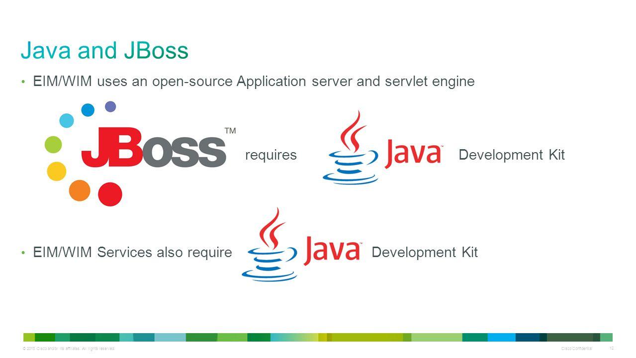 Cisco Confidential 12 EIM/WIM uses an open-source Application server and servlet engine requires Development Kit EIM/WIM Services also require Develop