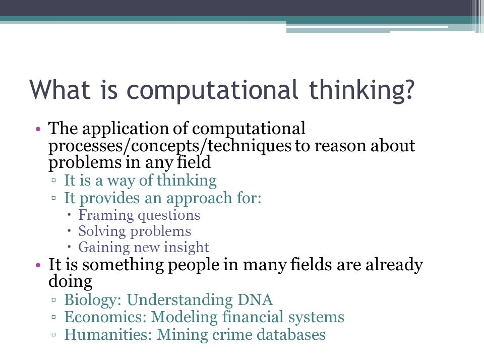 What is computational thinking.