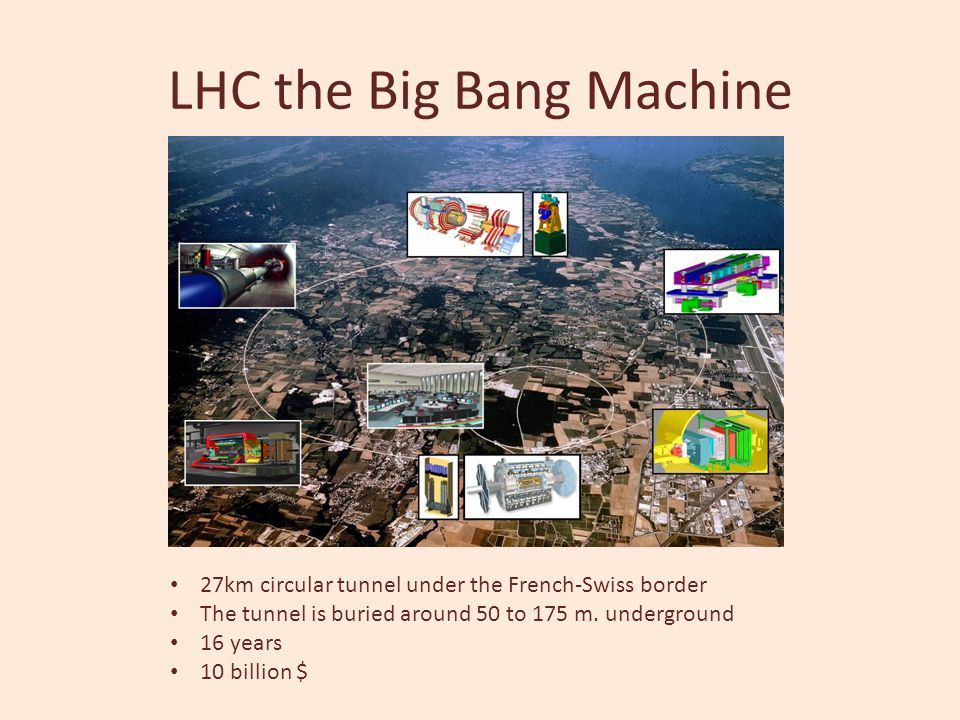 LHC the Big Bang Machine 27km circular tunnel under the French-Swiss border The tunnel is buried around 50 to 175 m. underground 16 years 10 billion $