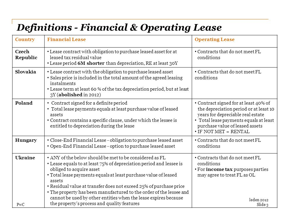 PwC Definitions - Financial & Operating Lease CountryFinancial LeaseOperating Lease Czech Republic Lease contract with obligation to purchase leased a
