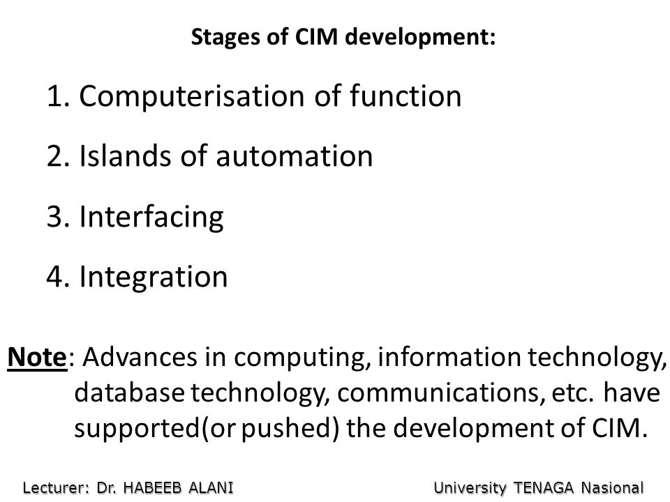 Stages of CIM development: 1. Computerisation of function 2.