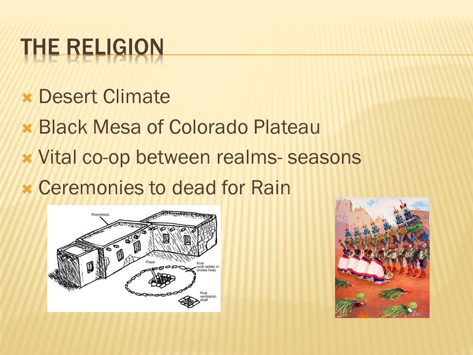  Desert Climate  Black Mesa of Colorado Plateau  Vital co-op between realms- seasons  Ceremonies to dead for Rain