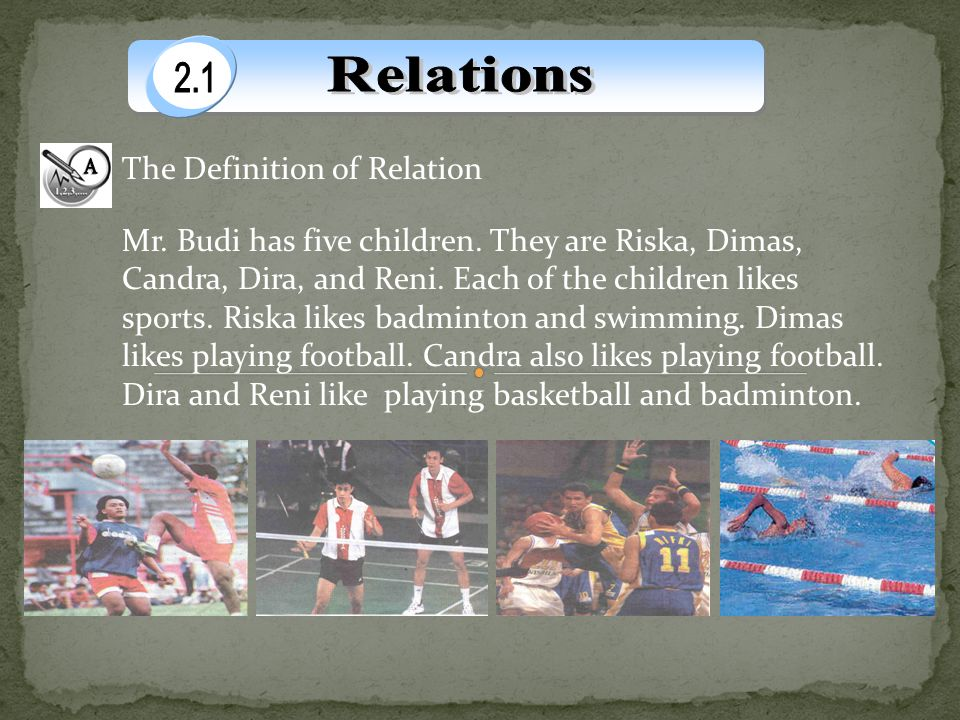 The Definition of Relation Mr. Budi has five children. They are Riska, Dimas, Candra, Dira, and Reni. Each of the children likes sports. Riska likes b