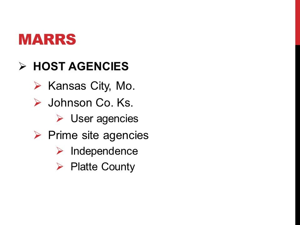 MARRS  HOST AGENCIES  Kansas City, Mo.  Johnson Co.