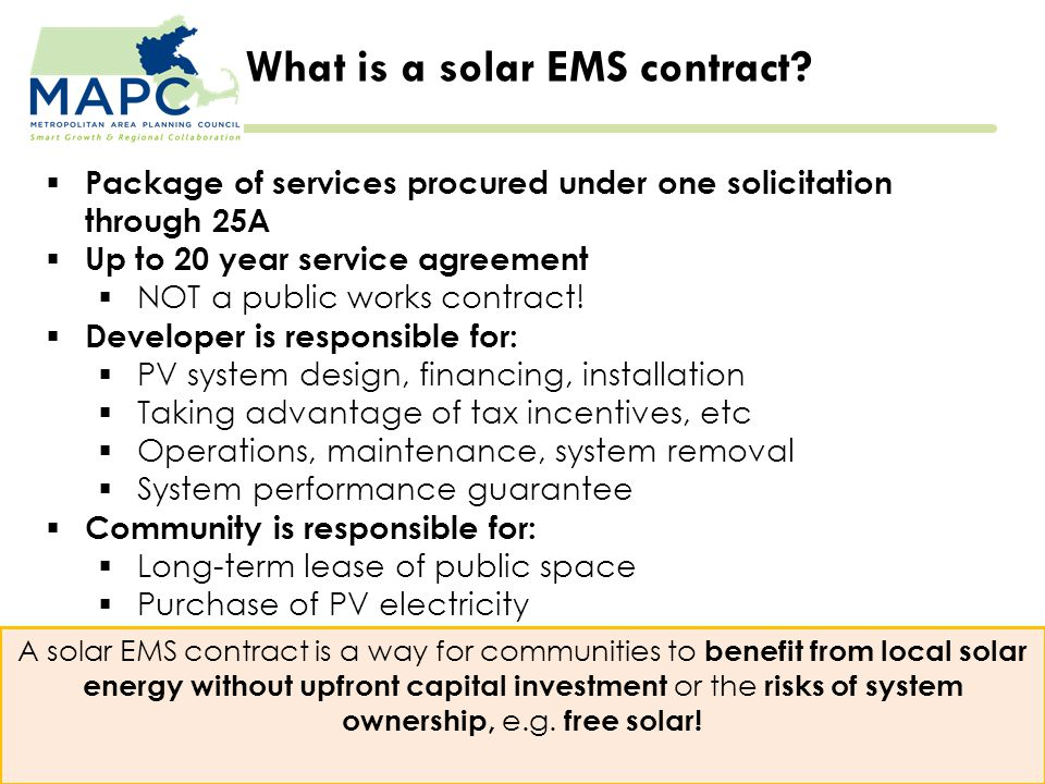 What is a solar EMS contract.