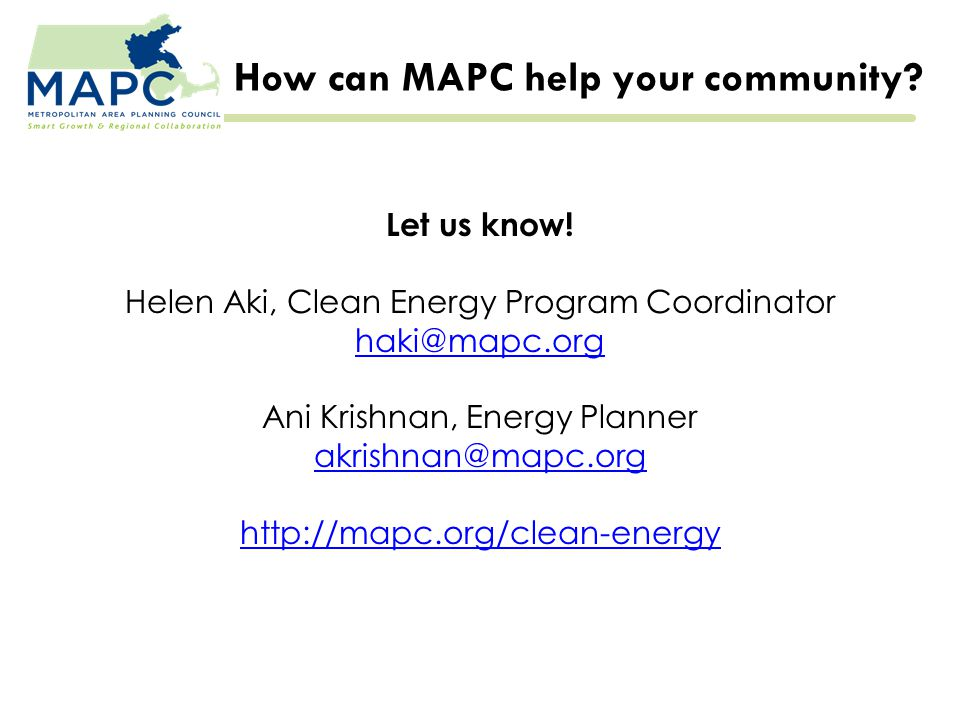 How can MAPC help your community. Let us know.