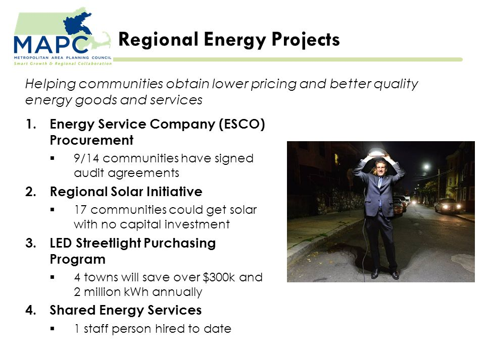 Regional Energy Projects 1.Energy Service Company (ESCO) Procurement  9/14 communities have signed audit agreements 2.Regional Solar Initiative  17 communities could get solar with no capital investment 3.LED Streetlight Purchasing Program  4 towns will save over $300k and 2 million kWh annually 4.Shared Energy Services  1 staff person hired to date Helping communities obtain lower pricing and better quality energy goods and services