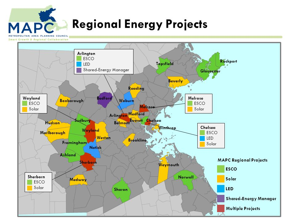 Regional Energy Projects Everett Rockport Gloucester Beverly Topsfield Winthrop Norwell Weymouth Sharon Bedford Melrose Reading Woburn Medford Chelsea Arlington Belmont Weston Brookline Boxborough Hudson Marlborough Sudbury Wayland Framingham Natick Ashland Sherborn Medway MAPC Regional Projects ESCO Solar LED Shared-Energy Manager Multiple Projects Melrose ESCO Solar Chelsea ESCO LED Solar Arlington ESCO LED Shared-Energy Manager Wayland ESCO Solar Sherborn ESCO Solar
