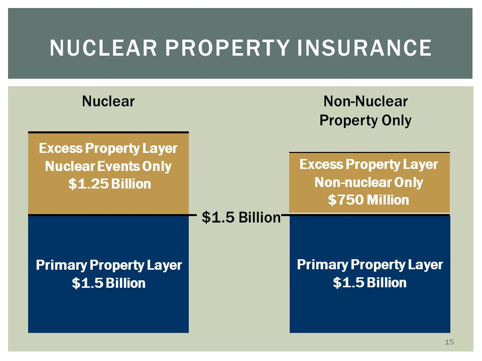 NUCLEAR PROPERTY INSURANCE $1.5 Billion Excess Property Layer Nuclear Events Only $1.25 Billion Nuclear Primary Property Layer $1.5 Billion Non-Nuclea