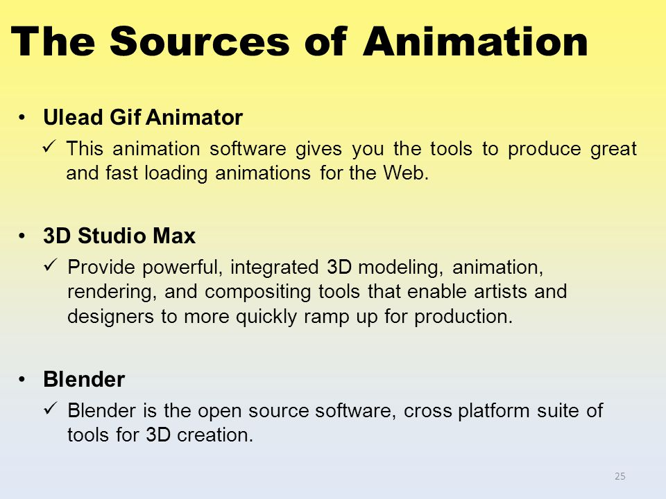 The Sources of Animation Ulead Gif Animator This animation software gives you the tools to produce great and fast loading animations for the Web. 3D S