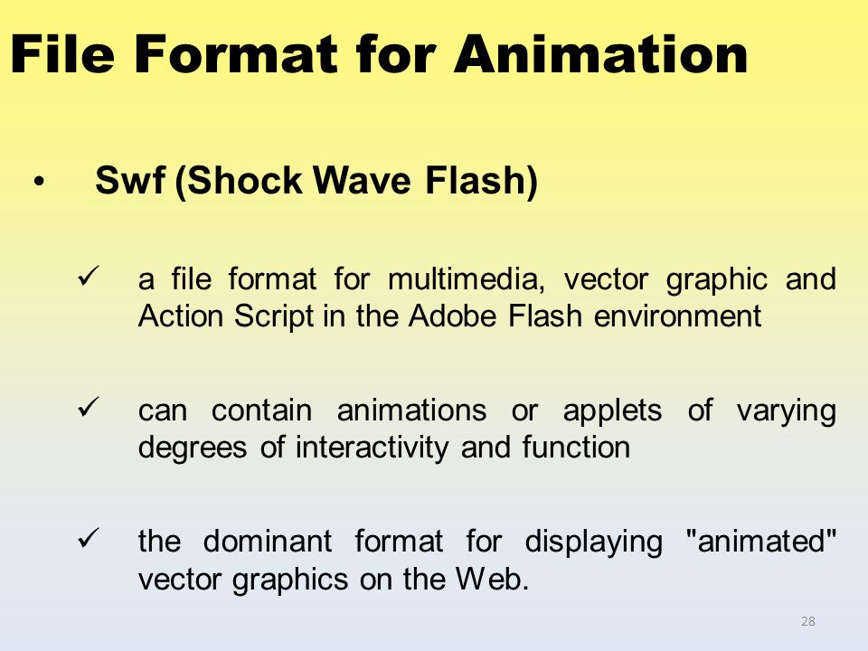 File Format for Animation Swf (Shock Wave Flash) a file format for multimedia, vector graphic and Action Script in the Adobe Flash environment can con