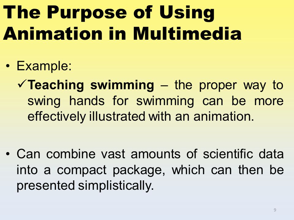 The Purpose of Using Animation in Multimedia Example: Teaching swimming – the proper way to swing hands for swimming can be more effectively illustrat