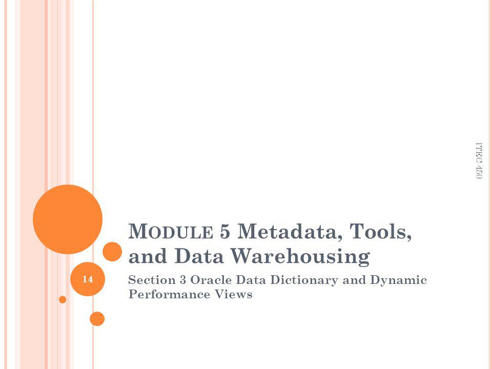 M ODULE 5 Metadata, Tools, and Data Warehousing Section 3 Oracle Data Dictionary and Dynamic Performance Views 14 ITEC 450
