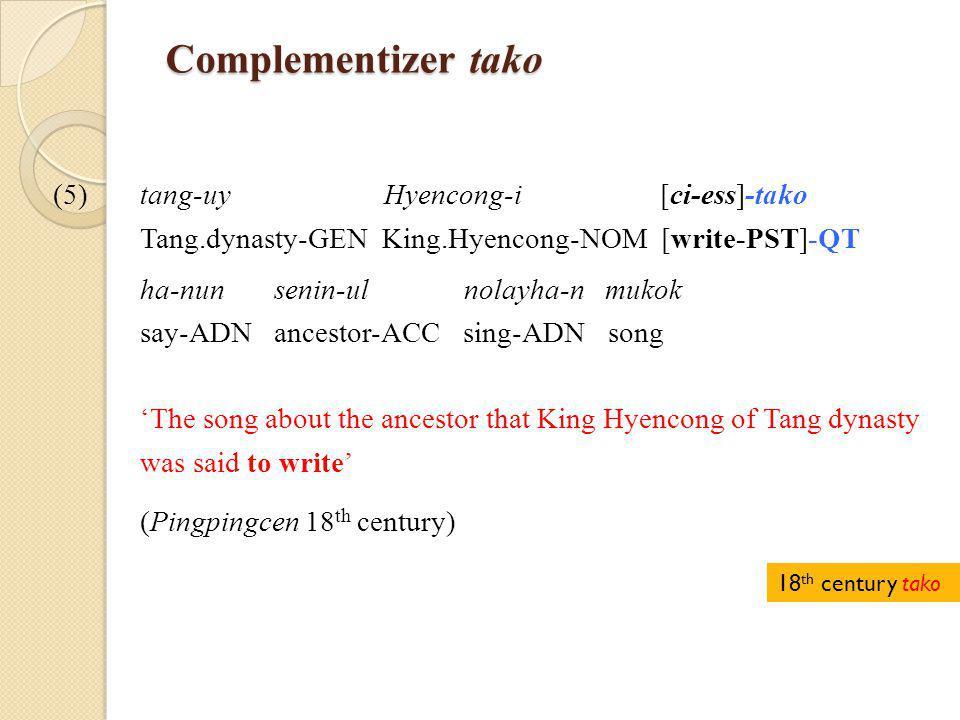 Complementizer tako Complementizer tako (5)tang-uy Hyencong-i [ci-ess]-tako Tang.dynasty-GEN King.Hyencong-NOM [write-PST]-QT ha-nun senin-ul nolayha-n mukok say-ADN ancestor-ACC sing-ADN song 'The song about the ancestor that King Hyencong of Tang dynasty was said to write' (Pingpingcen 18 th century) 18 th century tako
