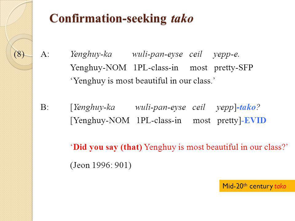 Confirmation-seeking tako (8)A: Yenghuy-ka wuli-pan-eyse ceil yepp-e.