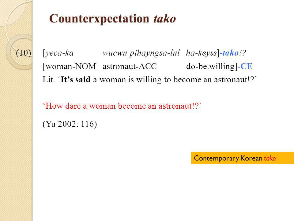 Counterxpectation tako (10)[yeca-ka wucwu pihayngsa-lul ha-keyss]-tako!.