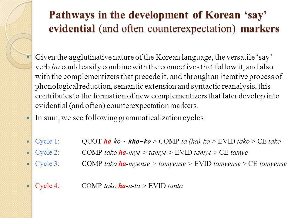 Pathways in the development of Korean 'say' evidential (and often counterexpectation) markers Pathways in the development of Korean 'say' evidential (and often counterexpectation) markers Given the agglutinative nature of the Korean language, the versatile 'say' verb ha could easily combine with the connectives that follow it, and also with the complementizers that precede it, and through an iterative process of phonological reduction, semantic extension and syntactic reanalysis, this contributes to the formation of new complementizers that later develop into evidential (and often) counterexpectation markers.