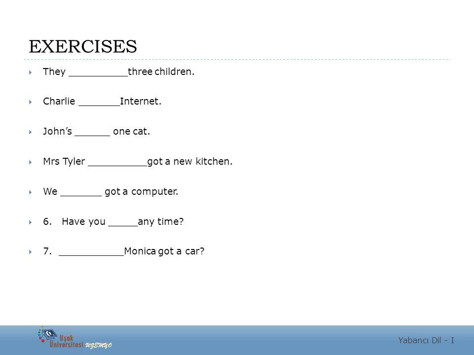 EXERCISES  They __________three children.  Charlie _______Internet.  John's ______ one cat.  Mrs Tyler __________got a new kitchen.  We _______ g