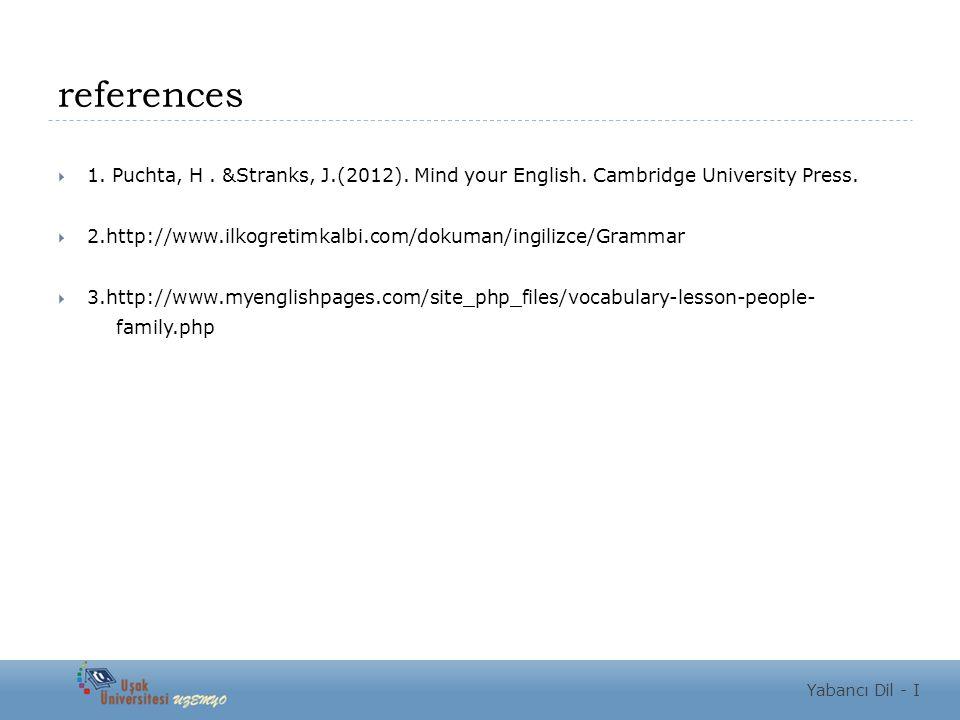 references  1. Puchta, H. &Stranks, J.(2012). Mind your English. Cambridge University Press.  2.http://www.ilkogretimkalbi.com/dokuman/ingilizce/Gra