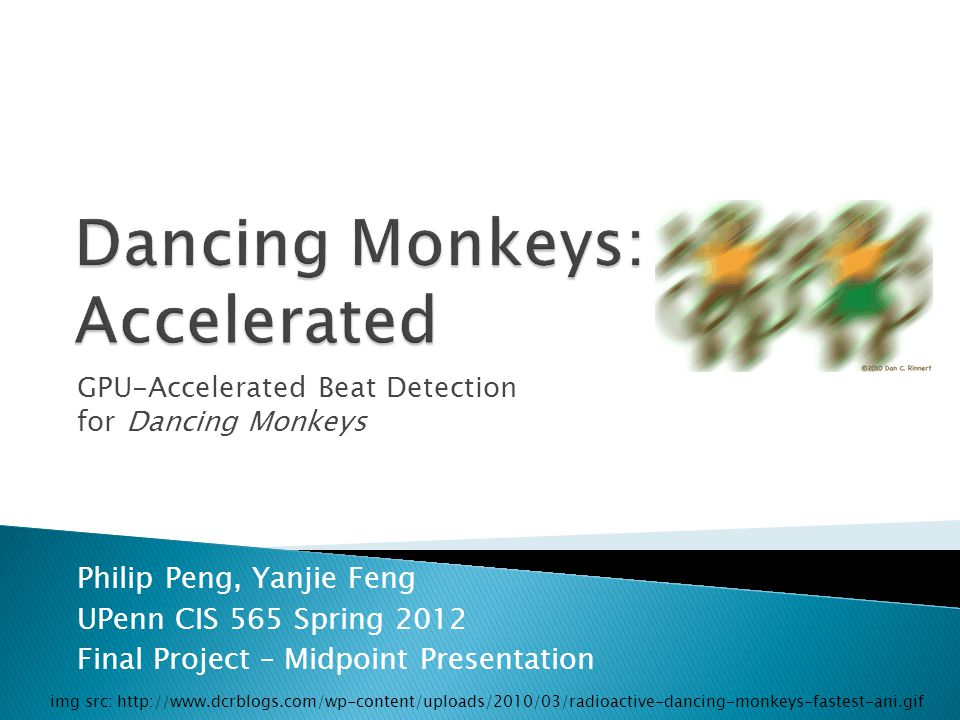 GPU-Accelerated Beat Detection for Dancing Monkeys Philip Peng, Yanjie Feng UPenn CIS 565 Spring 2012 Final Project – Midpoint Presentation img src: http://www.dcrblogs.com/wp-content/uploads/2010/03/radioactive-dancing-monkeys-fastest-ani.gif