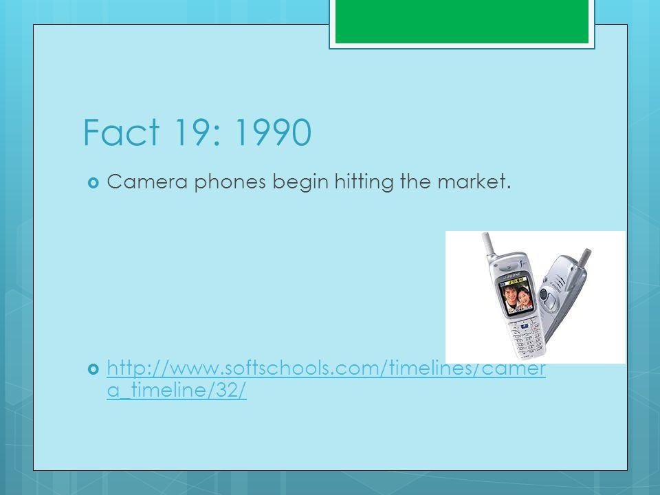 Fact 19: 1990  Camera phones begin hitting the market.
