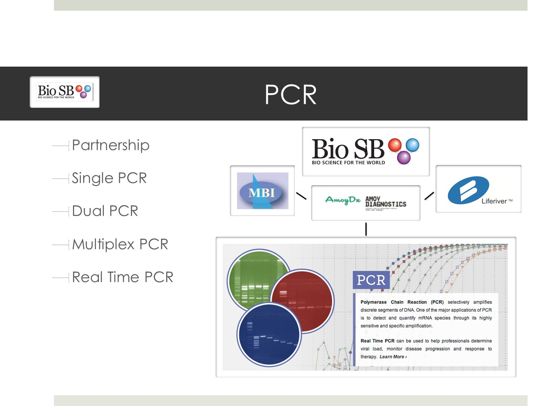 Partnership Single PCR Dual PCR Multiplex PCR Real Time PCR