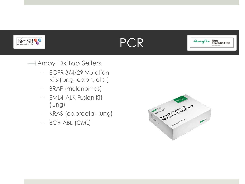 PCR Amoy Dx Top Sellers EGFR 3/4/29 Mutation Kits (lung, colon, etc.) BRAF (melanomas) EML4-ALK Fusion Kit (lung) KRAS (colorectal, lung) BCR-ABL (CML)