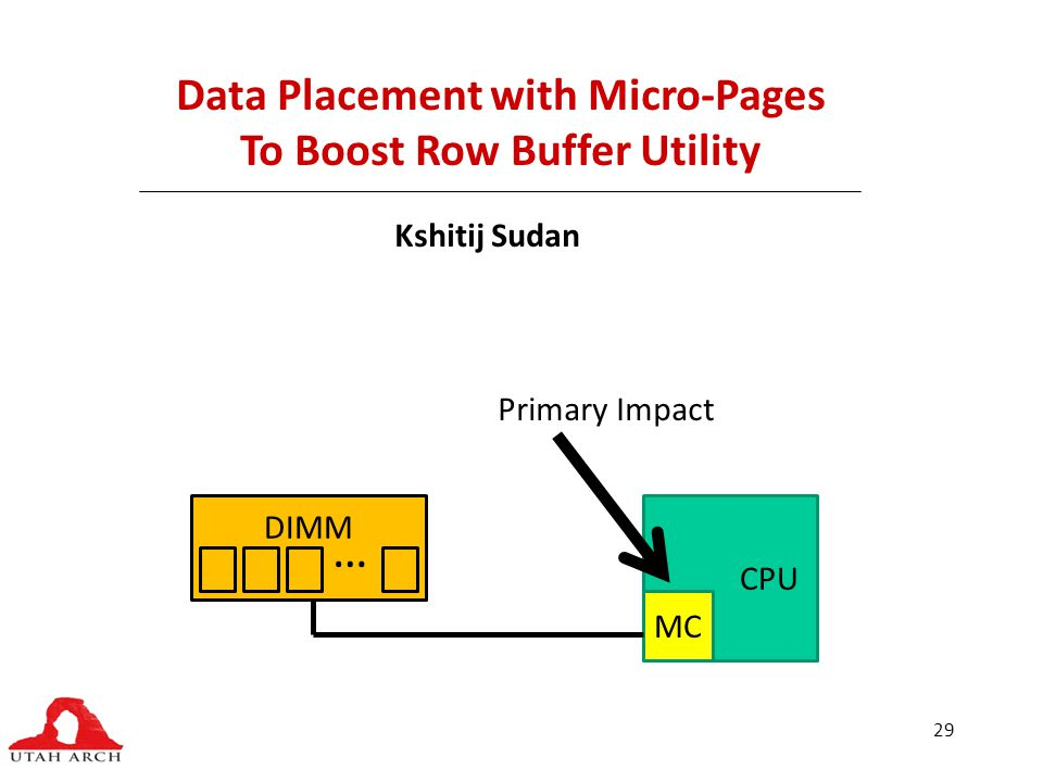 29 Data Placement with Micro-Pages To Boost Row Buffer Utility Kshitij Sudan CPU MC DIMM … Primary Impact