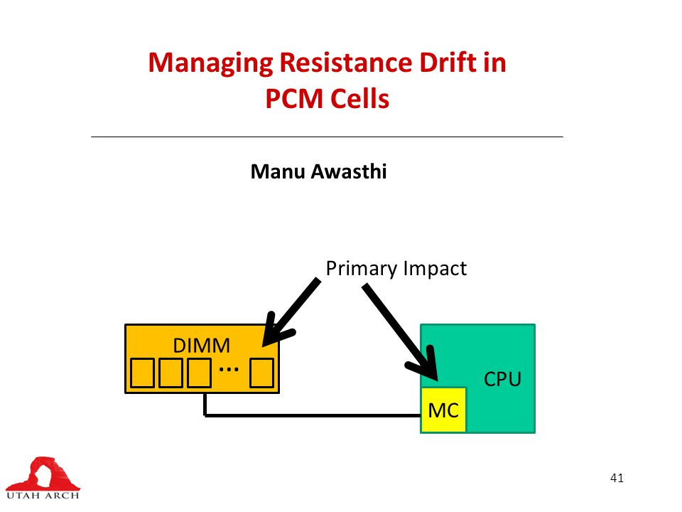 41 Managing Resistance Drift in PCM Cells Manu Awasthi CPU MC DIMM … Primary Impact