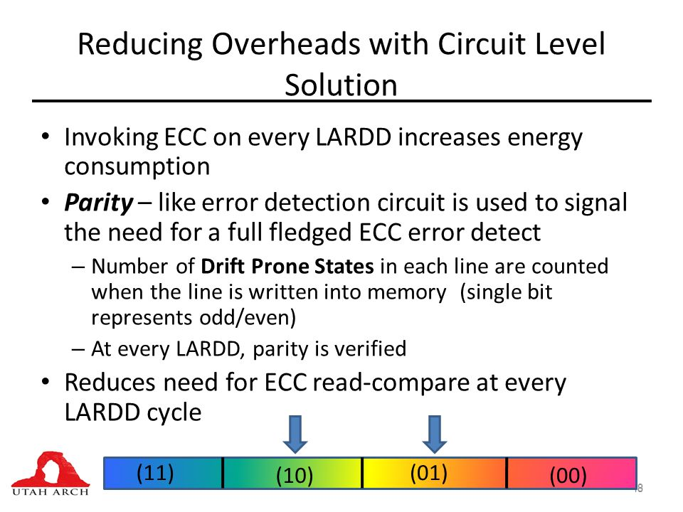 Reducing Overheads with Circuit Level Solution Invoking ECC on every LARDD increases energy consumption Parity – like error detection circuit is used to signal the need for a full fledged ECC error detect – Number of Drift Prone States in each line are counted when the line is written into memory (single bit represents odd/even) – At every LARDD, parity is verified Reduces need for ECC read-compare at every LARDD cycle 48 (11) (00)(10) (01)