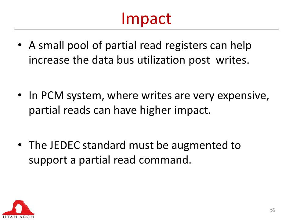 Impact A small pool of partial read registers can help increase the data bus utilization post writes.
