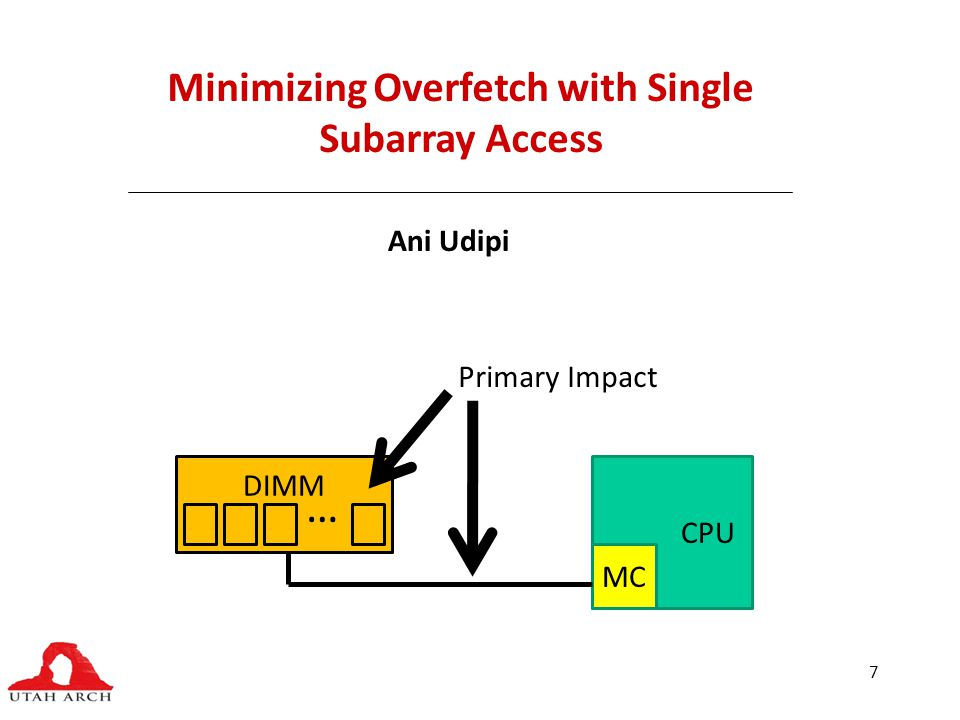 7 Minimizing Overfetch with Single Subarray Access Ani Udipi CPU MC DIMM … Primary Impact